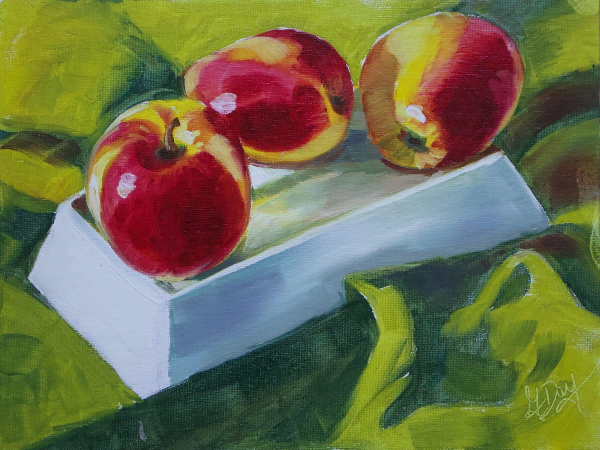 Apples in the Light 9x12 Oil ($275)