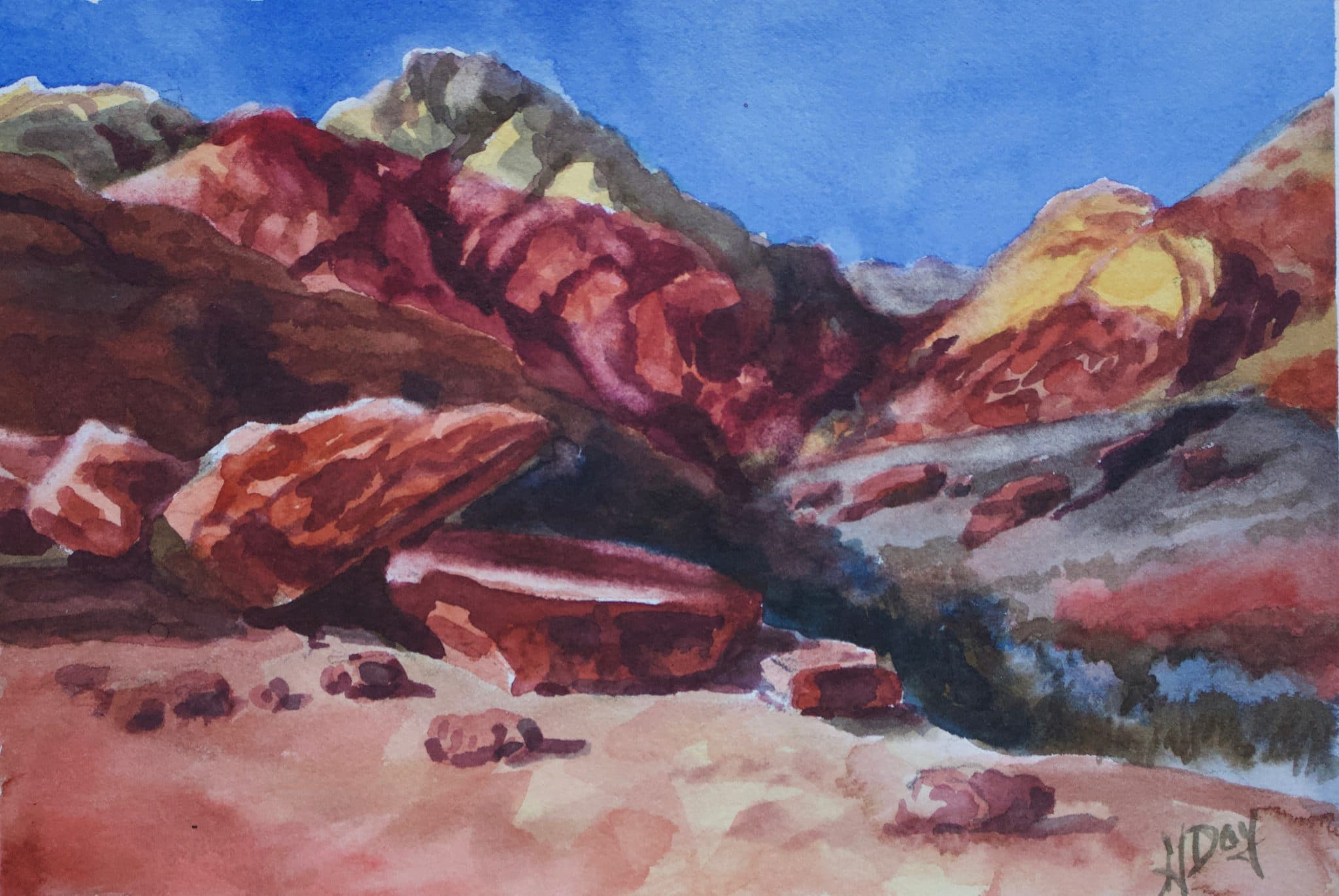 Red Rock Morning 8 X 10 Watercolour ($200)